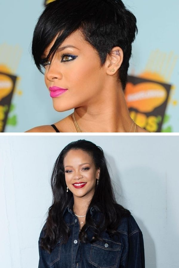 Collage of Rihanna haircuts
