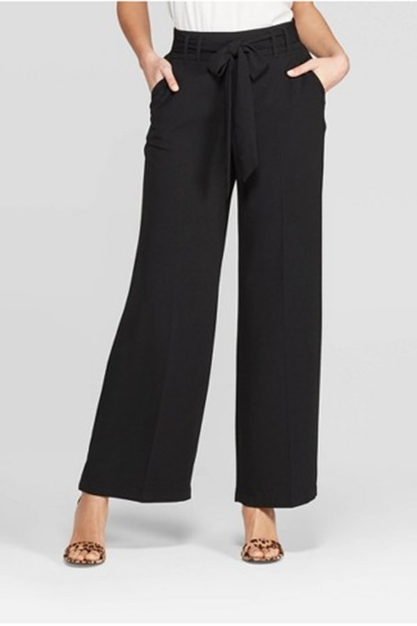 Black, tie-waist,wide-leg pants