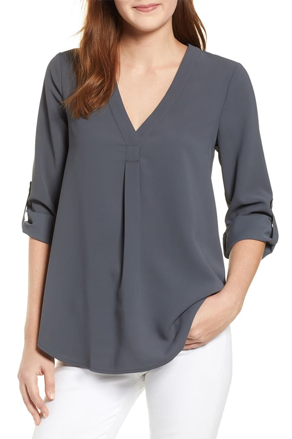 Dark grey tunic with roll sleeves