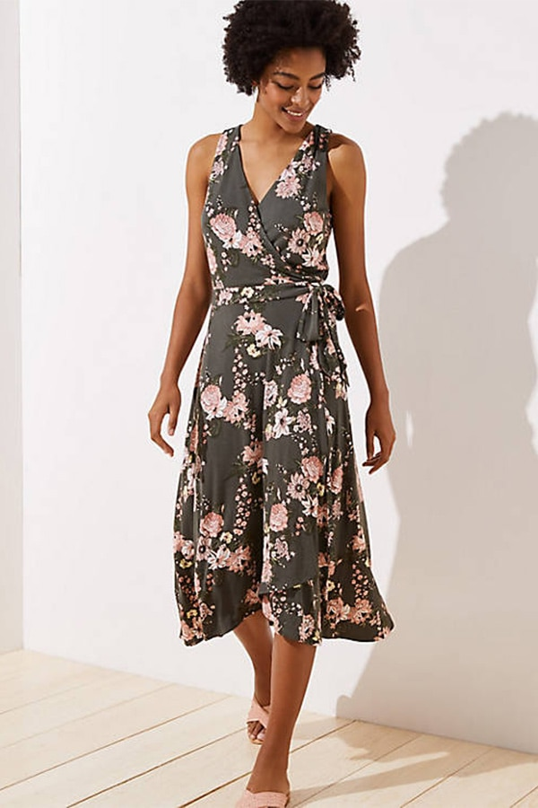 Green floral wrap dress — a great option when you're losing weight because you can pull it tighter