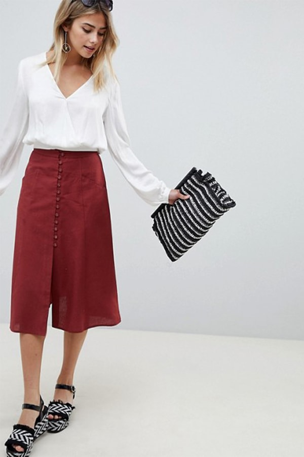 A line skirt with button detail