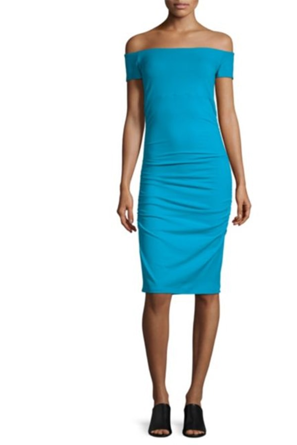 Aqua ruched bodycon dress