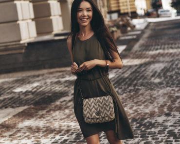 Woman wearing flattering shift dress