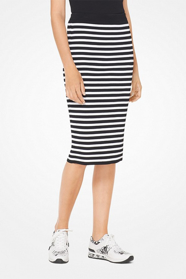 Striped casual pencil skirt