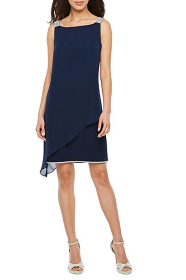 Navy blue, sleeveless shift dress