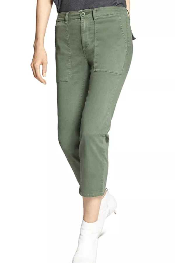 Crop pants in olive green