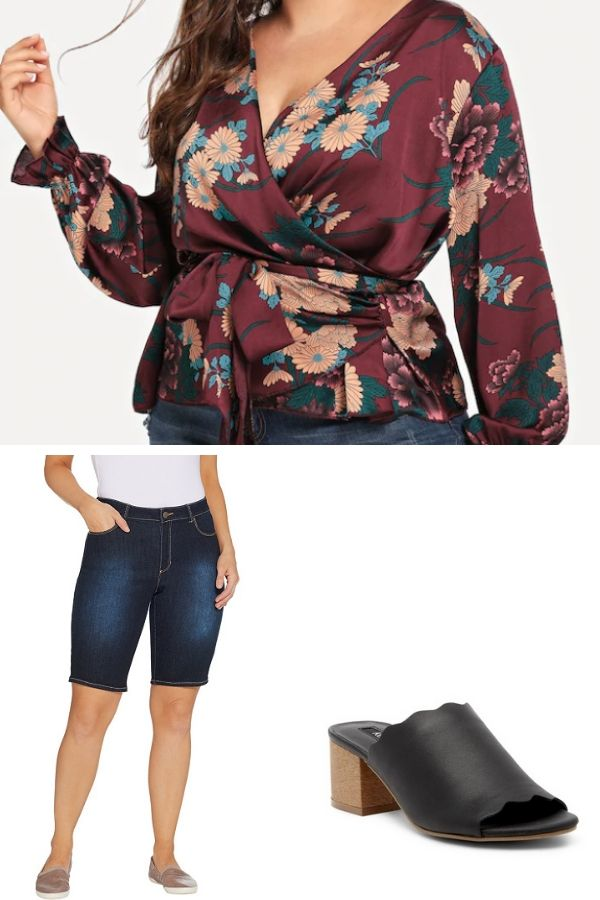Outfit collage for plus-size, pear-shaped women