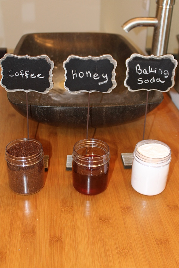 Ingredients for summer skincare scrub: coffee, honey, baking soda