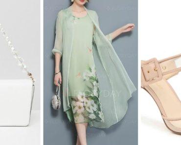 Wedding guest outfit: shoes, dress, handbag