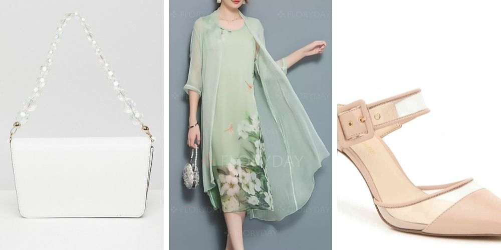 Wedding guest outfit: shoes, dress, handbag