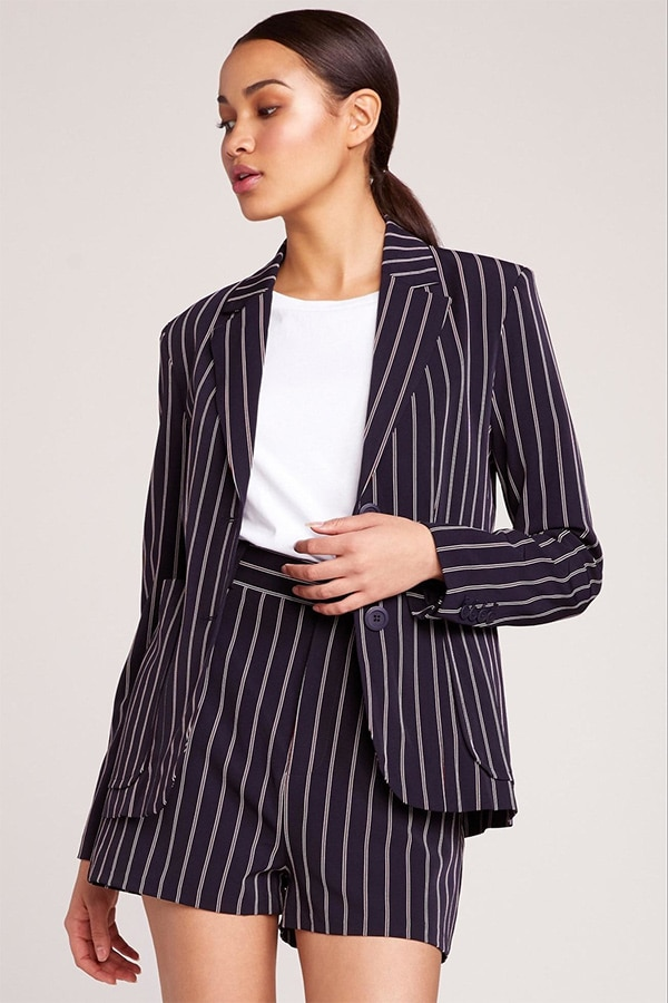 Black shorts suit with white stripe