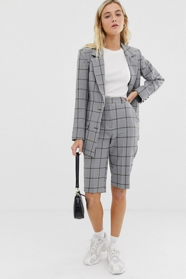 Checked women's short suit from ASOS