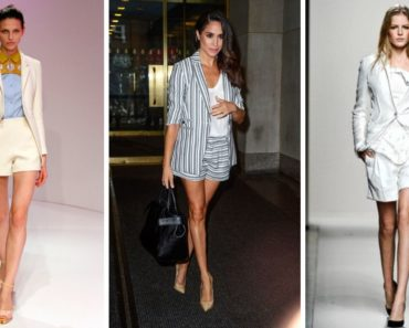 Collage of women wearing shorts suits