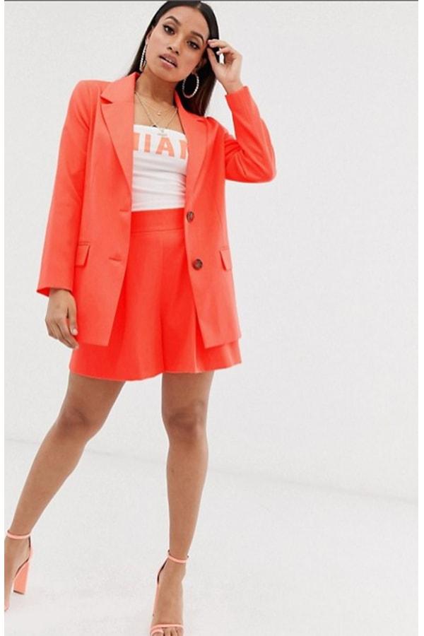 Orange women's shorts suit from ASOS