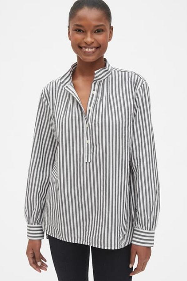 Women's work shirts: striped poplin shirt with mandarin collar