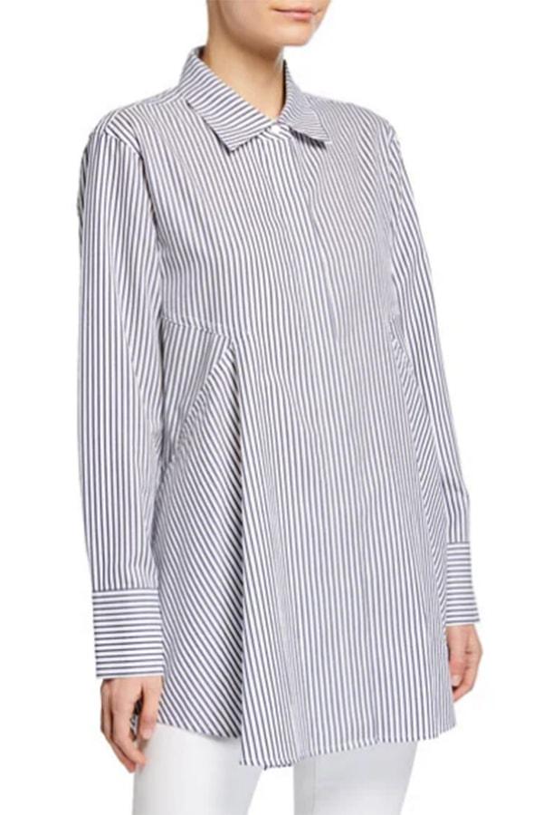 Women's work shirts: tunic with collar