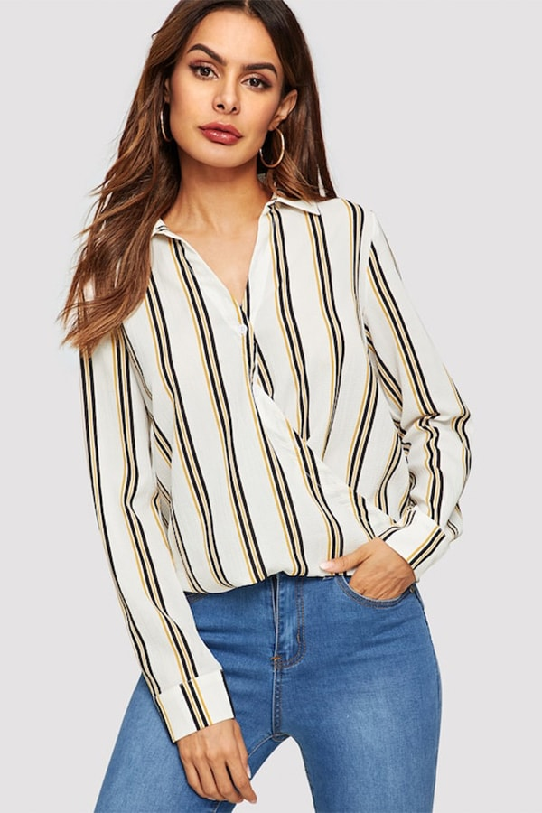 Collared wrap front top