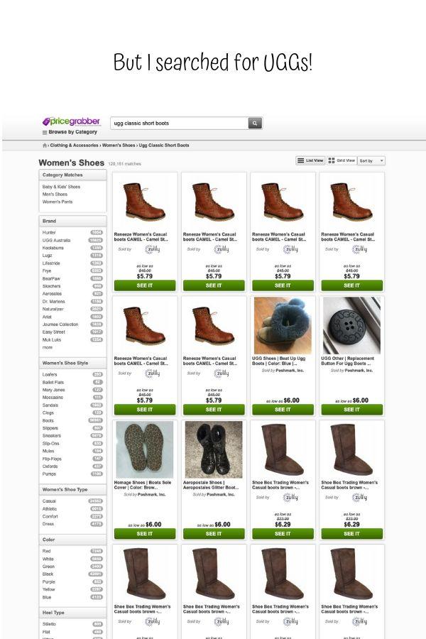 Screenshot from price comparison site Price Grabber