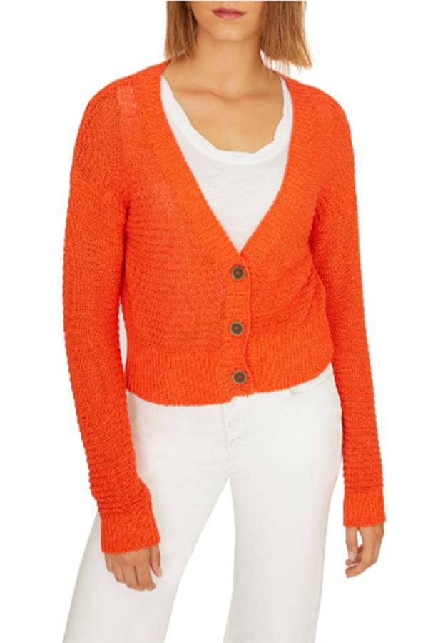 Orange-red cardigan