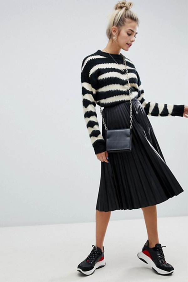 Pleated leather skirt