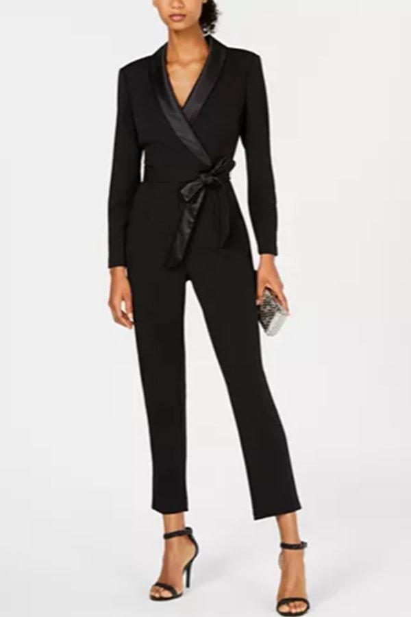 Black tuxedo style jumpsuit