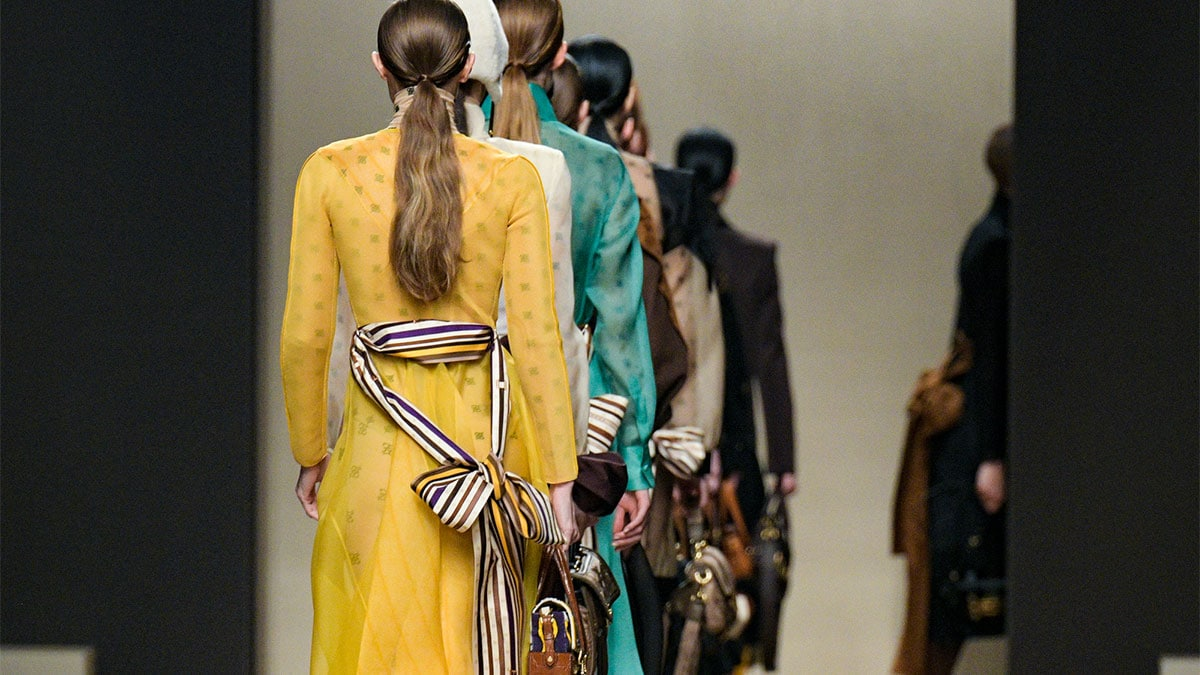 Models walk the runway finale at the Fendi show at Milan Fashion Week Autumn/Winter 2019/20