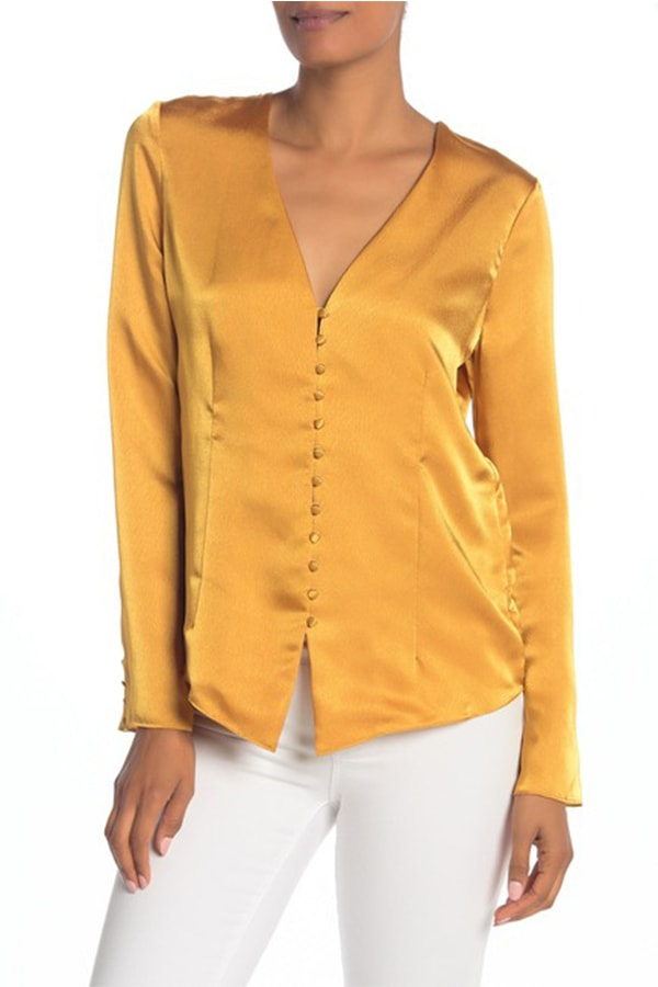 Button front blouse in saffron, a trending color for fall fashions