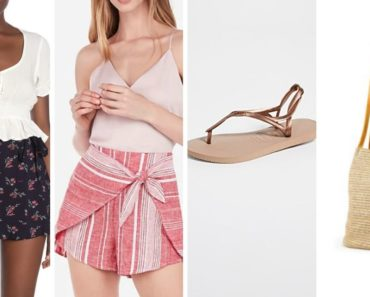 Outfit collage of pieces for a hot-weather outfit