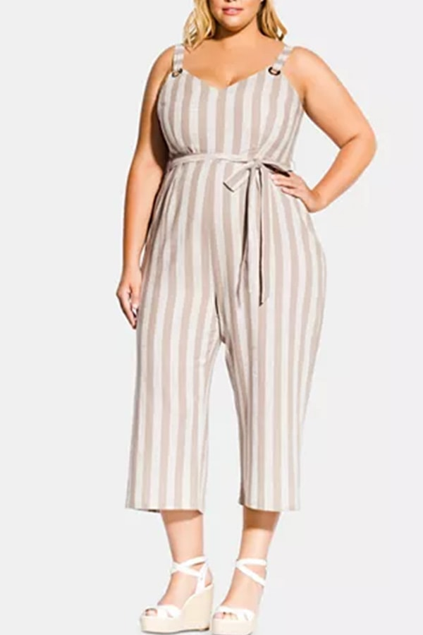 Striped plus size jumpsuit