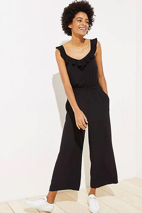 Black jumpsuit with ruffle neckline