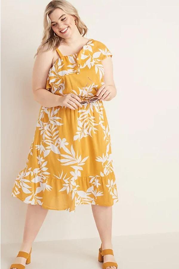 Patterned yellow dress with ruffle hem