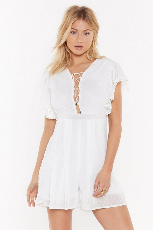 White playsuit from Nasty Gal