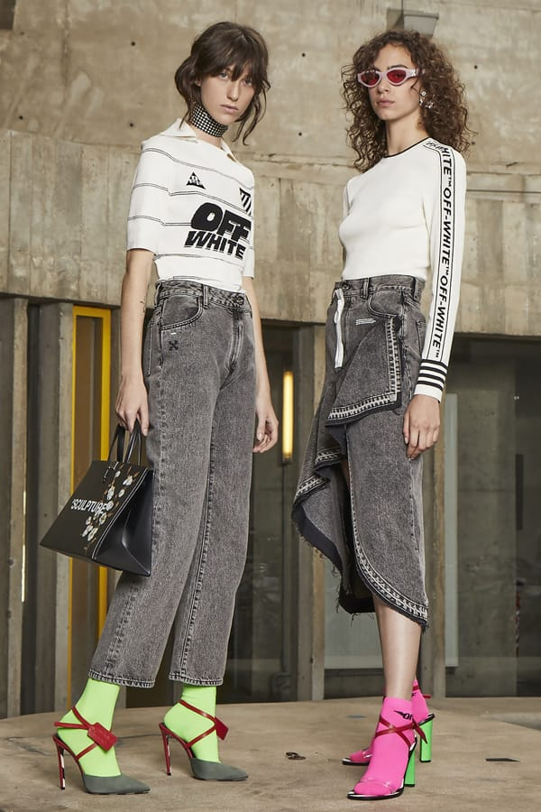 Two models wearing Off-White streetwear brand clothes