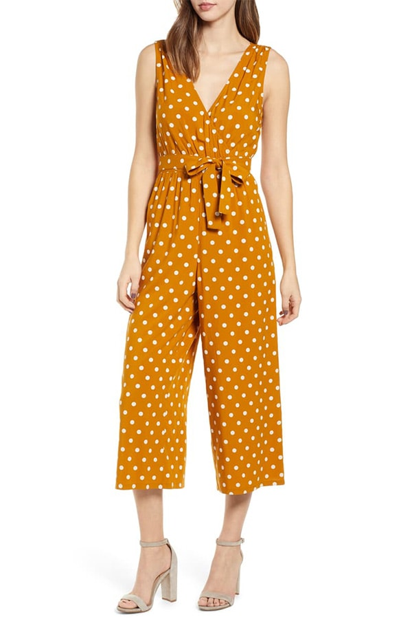 Yellow and white polka dot jumpsuit