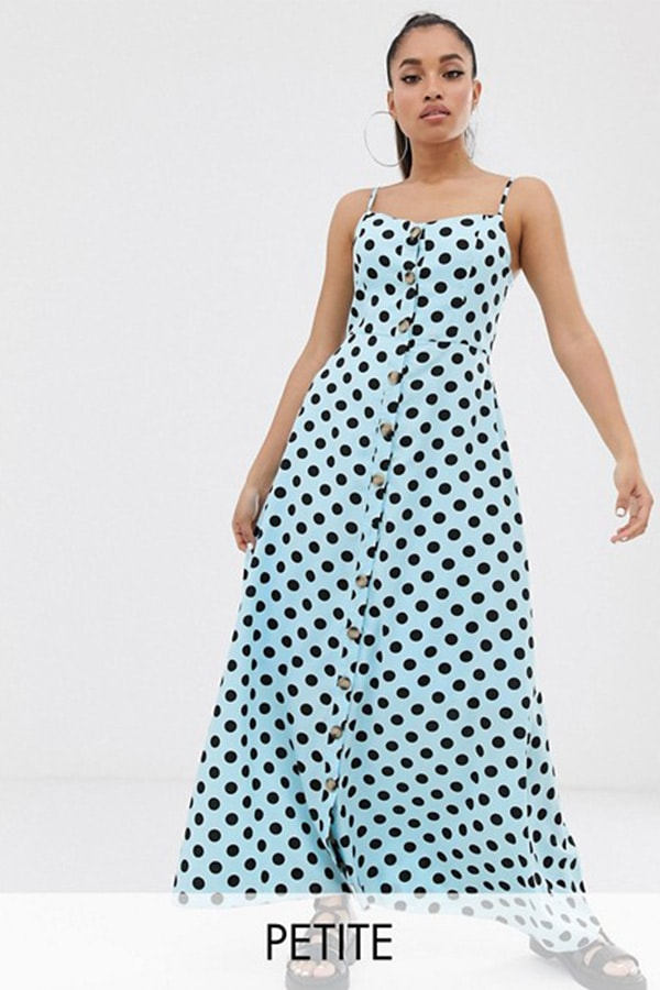Blue dress with polka dots
