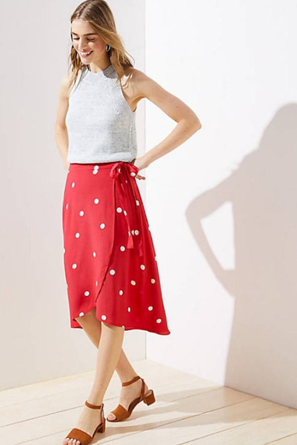 Red skirt with white polka dots