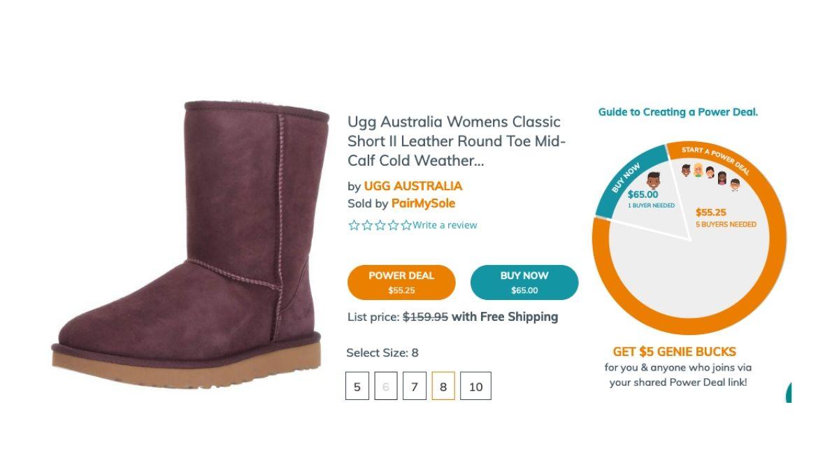 Screenshot from Massgenie crowd shopping site