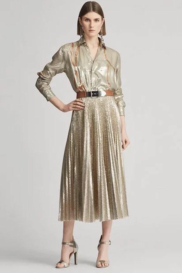 Metallic pleated skirt by Ralph Lauren