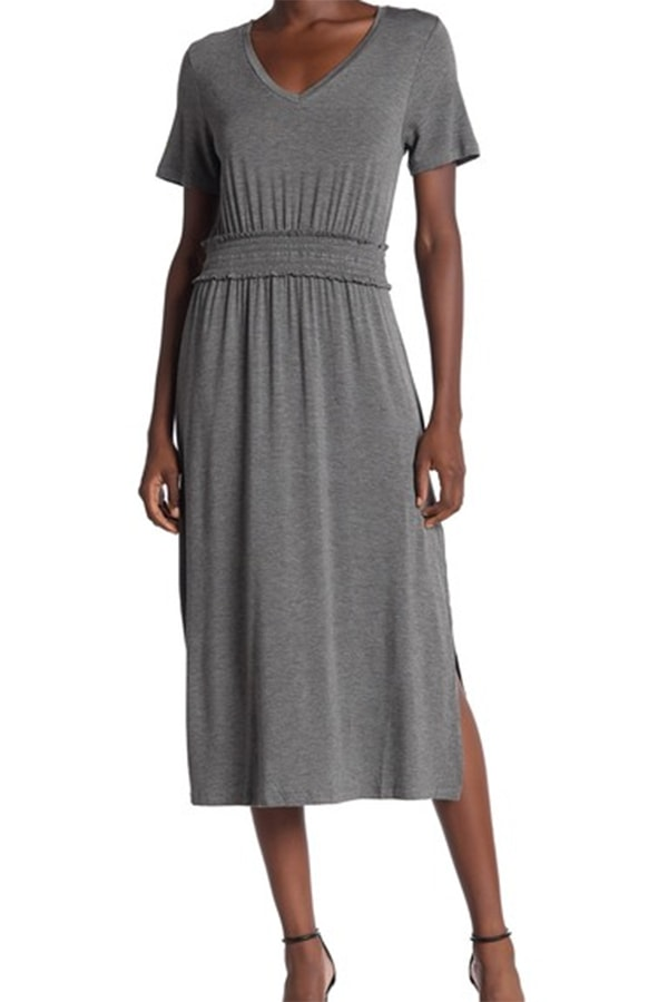 Gray smocked waist dress