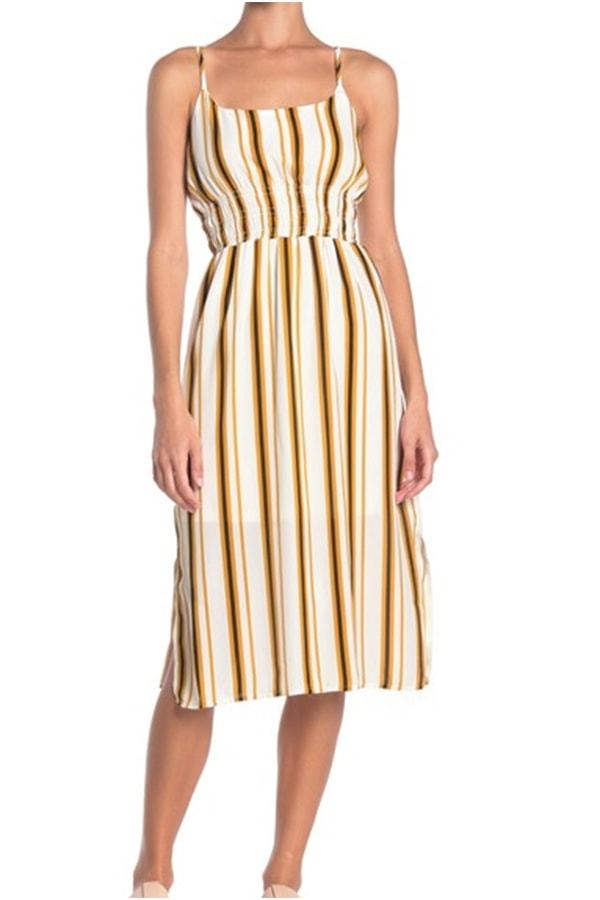 Striped dress with smocked waist