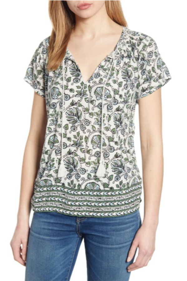 Patterned top with smocked neckline
