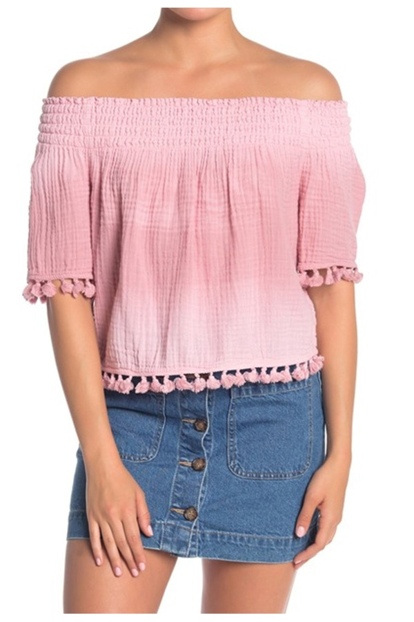 Smocked top with tassels