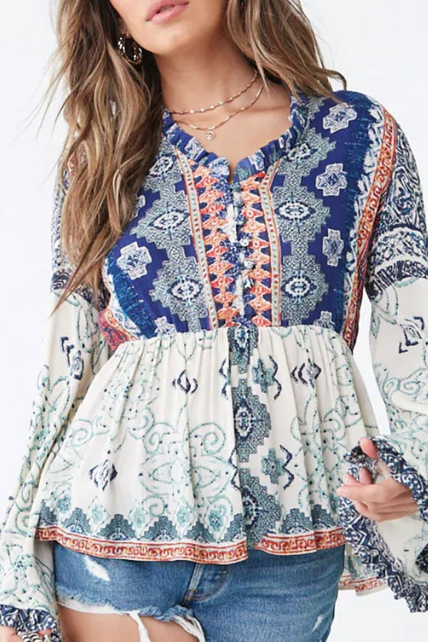 Embellished top with tribal print