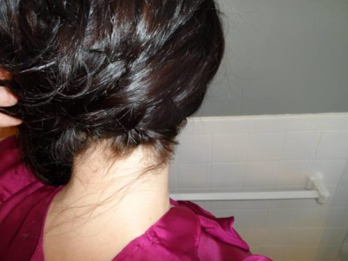 Updo tutorial step 6: pin the hair to the side