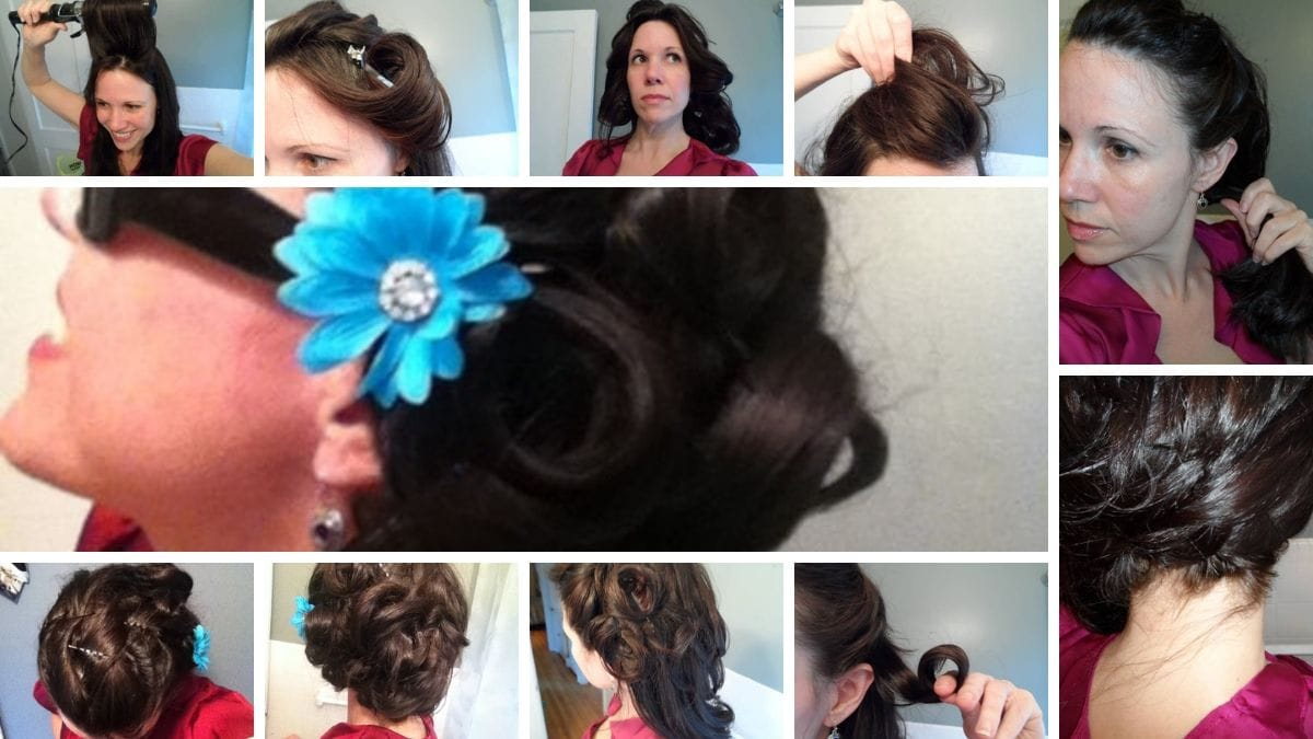 Collage of images detailing steps of updo tutorial