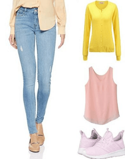 Outfit collage of sweater, tank top, sneakers and skinny jeans