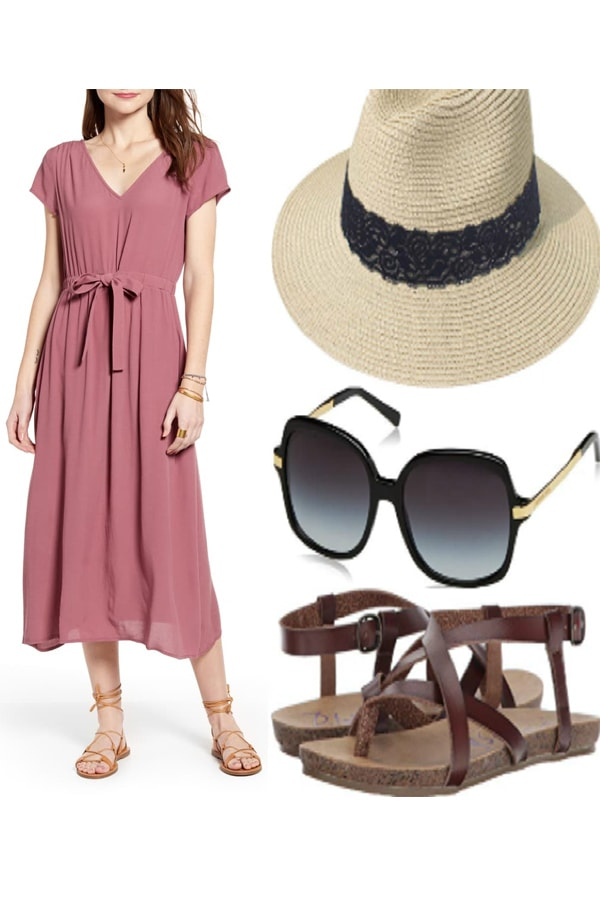 Outfit collage with midi dress, sandals and hat