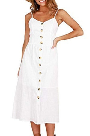 White dress with button detail