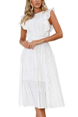 White dress with ruffle sleeves