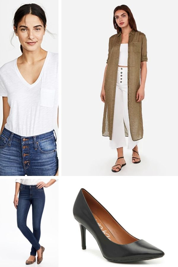Outfit collage with t-shirt, sheer duster, skinny jeans and pumps